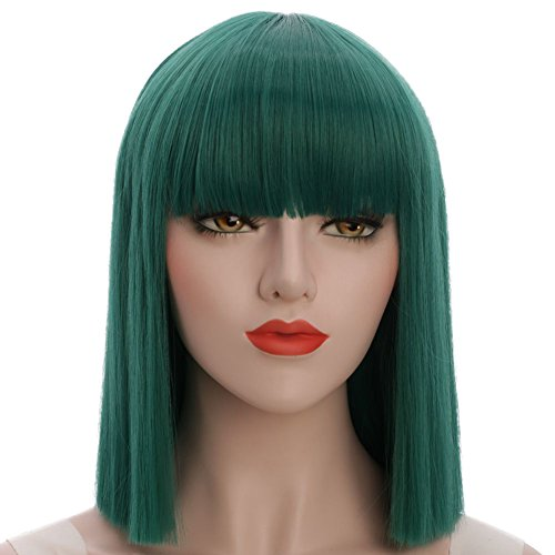 karlery Straight Short Hair Bob Wigs with Flat Bangs Synthetic Wigs for Women Natural As Real Hair (Green) -