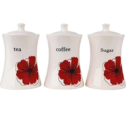 Scarlet Poppy Ceramic Storage Jars Beautiful Design With Airtight Lids by ultimatesalestore