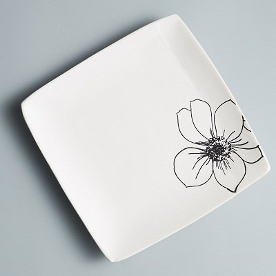SPSCO Japanese style ceramic breakfast tray square food dish plate Flat plate beefsteak dish (White-Flowers) by SPSCO HOPE HOME HAPPY