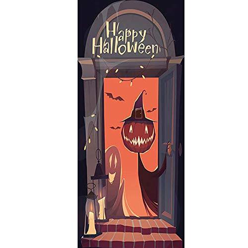 YJZ 3D Door Wall Mural Wallpaper Stickers Halloween Pumpkin Head Witch Ghost Self-Adhesive Vinyl Waterproof Art Door Renovation Decals
