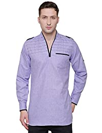 Maple Clothing Cotton Mens Short Kurta Shirt Indian Traditional Clothes