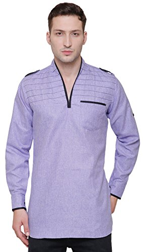 Cotton Mens Short Kurta Dress Shirt Indian Fashion Clothing (Purple, L) by Maple Clothing