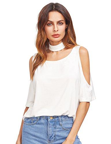 MakeMeChic Womens Shoulder Choker T shirt product image
