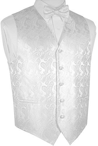 Brand Q Men's Paisley Dress Vest Bow Tie Set for Suit Tuxedo