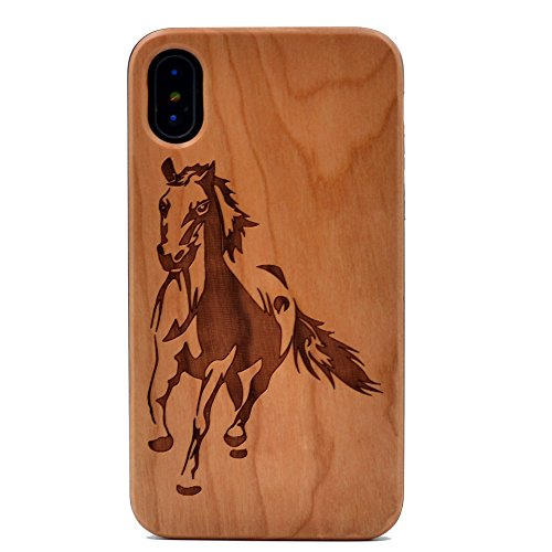 iPhone X Case Running Horse Pattern Wood Case Handmade Carving Real Wooden Case Cover with Rubber Case Back for Apple iPhone X (2017),iPhone Xs(2018)