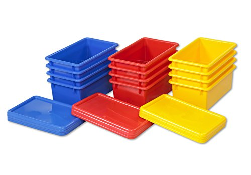 ECR4Kids Stack and Store Tubs with Lids, Assorted (12 Assorted Bins)