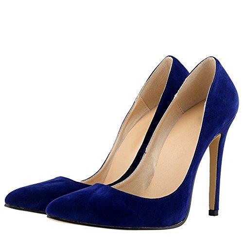 OCHENTA Mujer en muchos colores zapatos de tacon de terciopelo de un banquete de boda Azul
