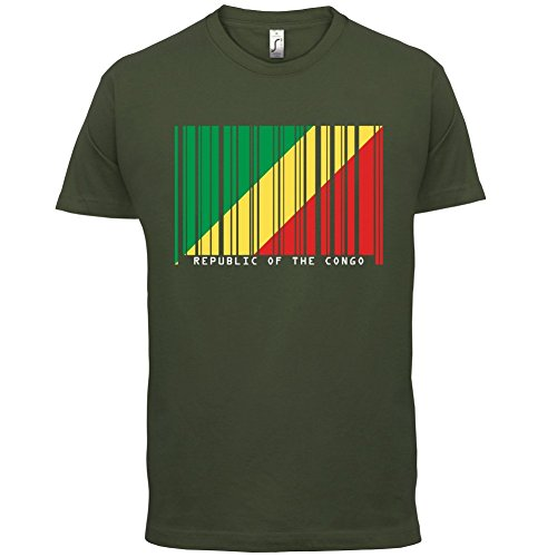 Republic of the Congo / Republik Kongo Barcode Flagge - Herren T-Shirt - Olivgrün - XL