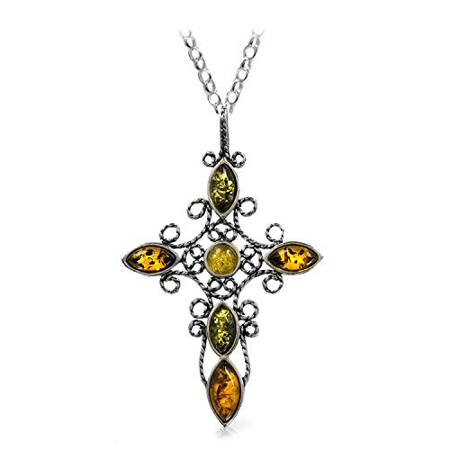 - Multicolor Amber Sterling Silver Cross Pendant Necklace Chain 18