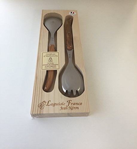 Neron Coutellerie Laguiole Salad Server With Olive Wood Handle In Wooden Box, Silver by Laguiole Neron