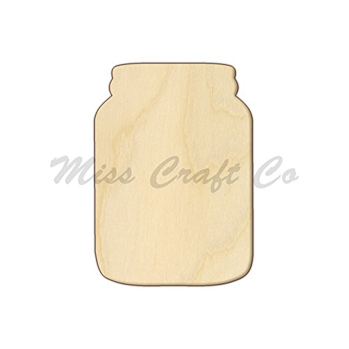 Mason Jar Wood Shape Cutout, Wood Craft Shape, Unfinished Wood, DIY Project. All Sizes Available, Small to Big. Made in the USA. 12 X 8.5 INCHES