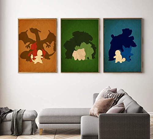 (Minimalist inspired Pokemon Poster set, Pokemon prints, Pokemons home decor, All Prints avialable in 9 SIZES and 3 type of MATERIALS)