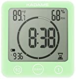 KADAMS [2019 Upgrade] Digital Bathroom Shower Kitchen Wall Clock Timer with Alarm, Waterproof for Water Spray, Touch Screen Timer, Temperature Humidity Display with Suction Cup Hanging Hole - Green