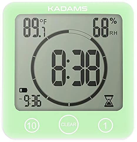 KADAMS Digital Bathroom Shower Kitchen Wall Clock Timer with Alarm, Waterproof for Water Spray, Touch Screen Timer, Temperature Humidity Display with ...