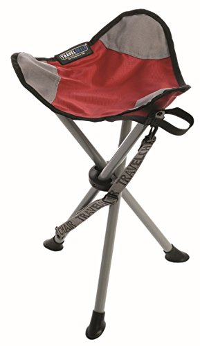 TravelChair Slacker Chair, Super Compact, Folding Tripod Camping Stool, Red