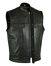 Men's Riders Son of Anarchy Black Leather Vest 2 Gun Pocket Zip SNAP Single Back