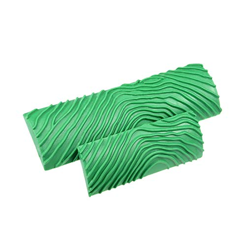 uxcell Wood Grain Tool 5.4 inch 3.5 inch Empaistic Rubber Square Graining Pattern Stamp for Wall Decoration DIY Green 1…