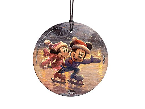 Thomas Kinkade Disney Mickey and Minnie Sweetheart Holiday StarFire Prints Hanging Glass