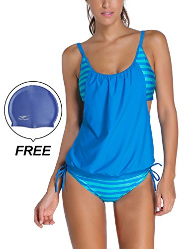 Woman's Striped Double Up Top Padded Tankini 2 Pieces Swimsuit by (Halloween Over Meme)