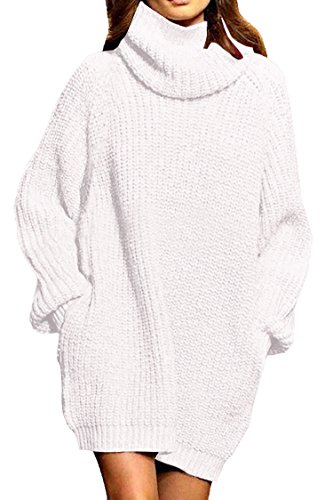 Pink Queen Women's Loose Turtleneck Oversize Long Pullover Sweater Dress White -
