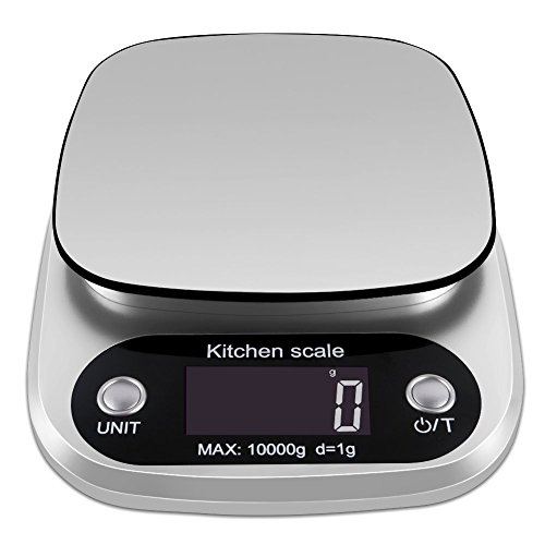 OFFICESU Digital Kitchen Scale Multifunction Food Scale, 22 lb 10 kg, Silver, Stainless Steel (Batteries Included) by OFFICESU