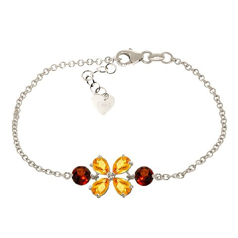 QP bijoutier & Citrine Grenat naturel Bracelet en or blanc 9 carats - 5065W 3.15ct coupe poire