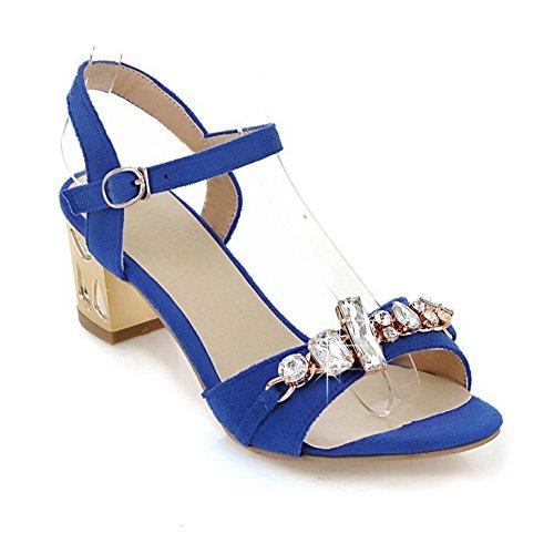 Amoonyfashion Damesschoenen Met Open Teen Katoenen Hak Stevige Hakken Pu Gematteerde Massieve Sandalen Met Glas Diamantblauw