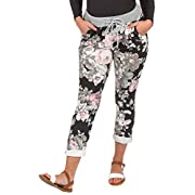 Love My Fashions® Womens Multi Floral Check Tartan Print Italian Ribbed Waistband Casual Summer Trousers Jogging…