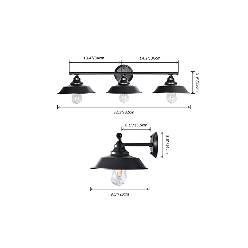 LLHZSY Farmhouse Rustic Style Vintage 3-Light Vanity Wall Sconce Lighting, Elibbren E26 Base Metal Matte Black…
