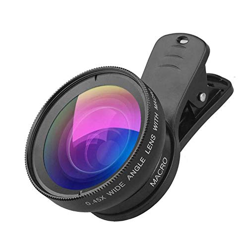 2 in 1 Cell Phone Lens, Macro Lens + 0.45X Wide Angle Lens, Professional HD Camera Lens Kits, Clips-On Cell Phone Lens…