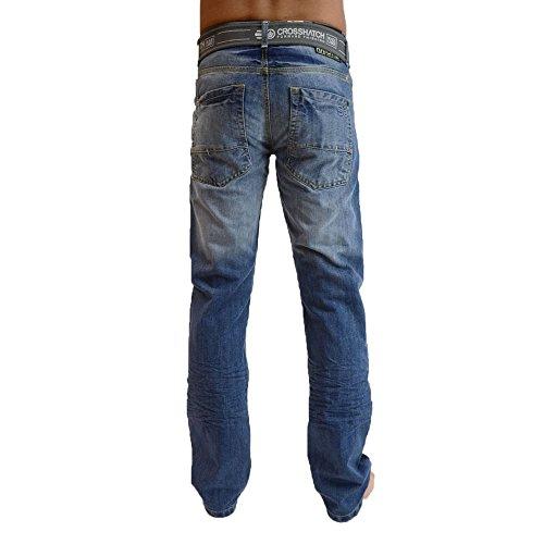 Con Dritta Jeans Gratis Crosshatch Di Lavage De Cotone Cintura Gamba Denim Regular Milieu Marca Uomo HRqFz