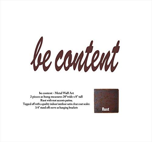 be content 20″ long x 8″ tall – metal wall art words – Rust Patina – Handmade Review