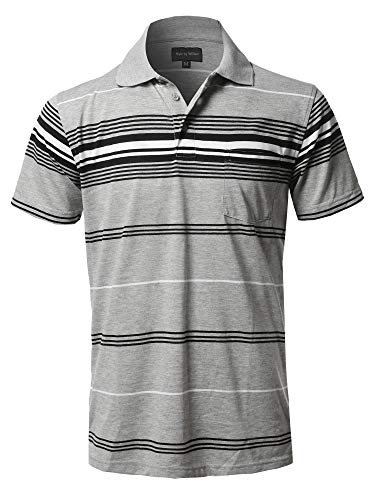 Style by William Casual Striped Short Sleeves Three-Button Polo Shirt Heather Grey2(Pocket) -
