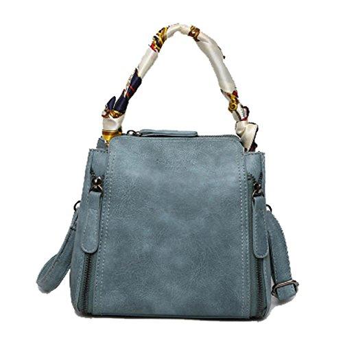 scarf a Blue amp; Bags Retro Body silk Women OYIGE in Bags Shoulder for Cross Gray Wrapped Handbags vq48xa5R