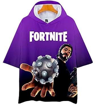 Fortnite 3D digital printing T-shirt Short sleeve with cap T-shirt-L
