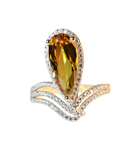Tingle Alexandrite Rings Fine Jewelry for Women Teardrop Changing Colors Gemstone Wedding Engagement Ring Sterling Silver Dimond Style Ring (Water-Drop 7x16 Yellow-Gold, 6) ()