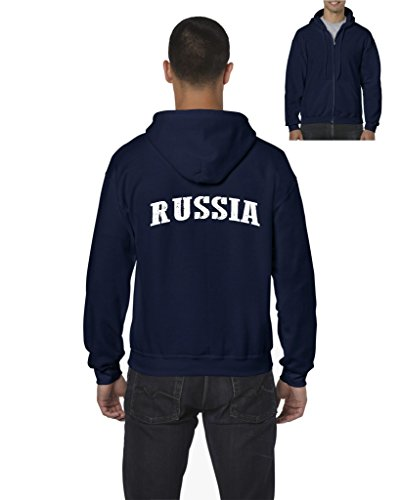 Ugo What To Do in Russia Travel Deals Moscow Tour Guide Map Russian Flag Full-Zip Men's Hoodie