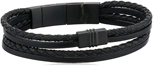 Cuff Fossil Leather - Fossil Men's Multi-Strand Black Leather Bracelet