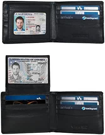 2 Window ID Holder RFID Wallet for Men, Multi Card Extra Capacity Travel Wallet, Ultimate Identity Theft And Credit Card Protection, Luxury Napa Leather Bifold Wallet - Sleek And Stylish Gift For Men