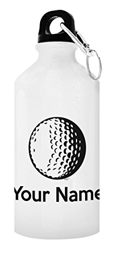 Customized Golf Equipment Customized Golf Water Bottle Personalized Gift 20-oz Aluminum Water Bottle with Carabiner Clip Top White