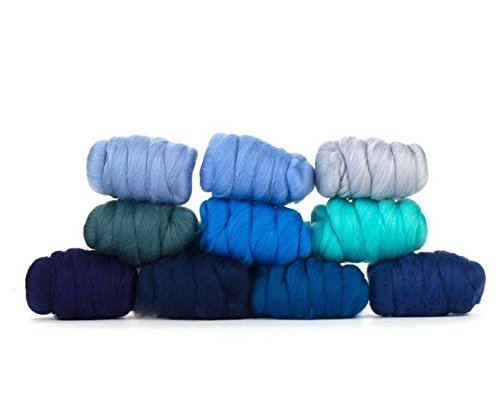 Paradise Fibers Mixed Merino Wool Bag - Wooly Waves - Merino Wool Fiber Lot Perfect for Needle Felting, Wet Felting, Hand Spinning, and Blending ()