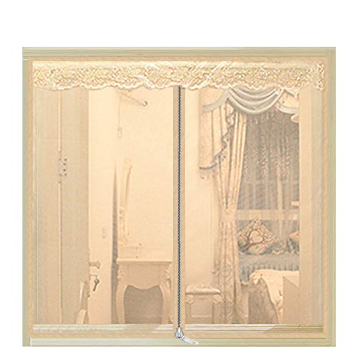 Jacquard Valance Stripes - Anti-Mosquito Screen, Gauze Self-Adhesive Magnetic Curtain Detachable Punch-Free Curtain-Beige 180x200cm(71x79inch)