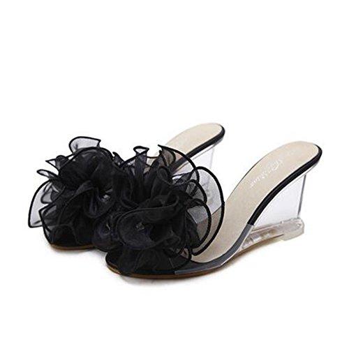 Zapatos color Casuales 35 Damas Alto Tacón Flip Flop Para Flor Talón Sandalias Pvc Comfort Negro De Summer Mujer Translúcido Tamaño awqBxrap
