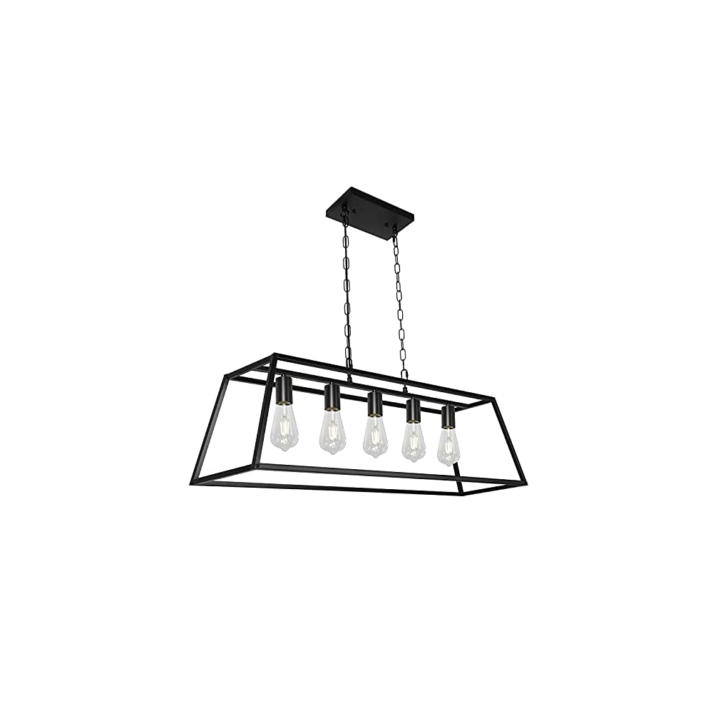 Black Modern Kitchen Island Lighting Farmhouse Chandelier Industrial Ceiling Light Fixtures for Kitchen, Dining Room…