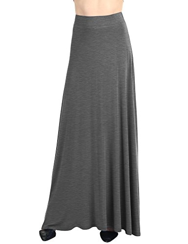 Lock and Love WB1434 Womens Solid Maxi Skirt with Elastic Waist Band XL Heather_Dark_Grey
