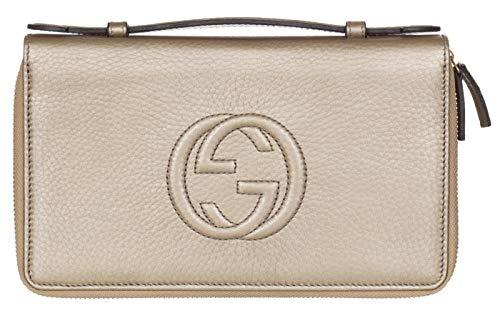 Gucci Metallic Leather GG Soho Travel Wallet Organizer Briefcase