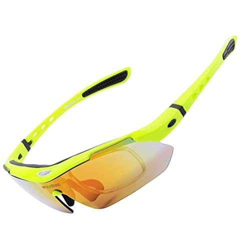 SaySure - WOLFBIKE Professional Polarized Cycling Glasses Bike Casual Goggles Motocross Bicycle Sunglasses UV 400 With 5 Lens 5 color - GMN-BG-SPT-000264 hFZKO