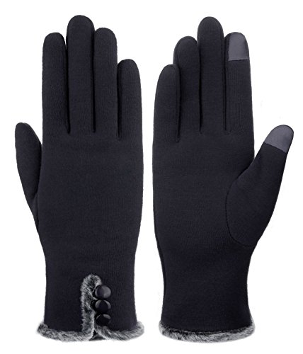 IL Caldo Women's NEW Screentouch Thick Warmer Weather Gloves (Black A)