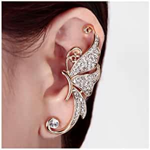 One Piece Punk Rock Star Butterfly Crystal Ear Wrap Left Cuff Earrings Stud