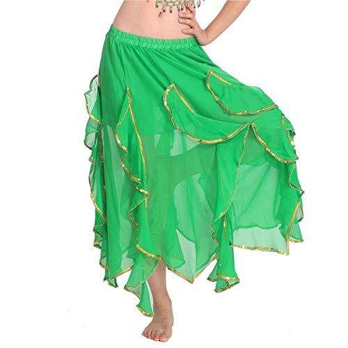 Skirt Women Lace Golden Hemline Dance Clothing Practice Performance Dance,Green,One -